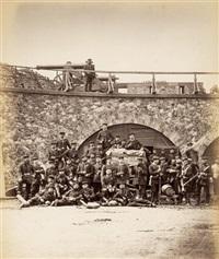 le fort d aubervilliers. vue interieure des casemates avec un groupe de prussiens (no. 93) by alphonse liebert
