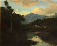 california landscape with mountains beyond by william keith