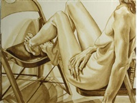 female nude on chair by philip pearlstein