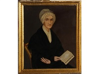 portrait of a woman in white bonnet holding a copy of
