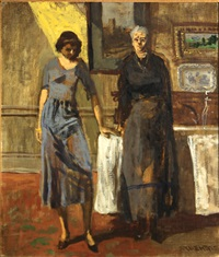 two women standing in an interior by walter stuempfig