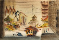 san francisco chinatown (+ white serpent, screenprint on paper, smllr; 2 works) by hon chew hee
