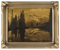 mount rainier, washington (+ reeds, gelatin silver print; 2 works) by asahel curtis