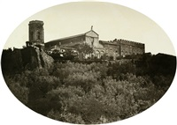 view of san miniato al monte (+ sculptural fountain in a garden; 2 works) by fratelli alinari