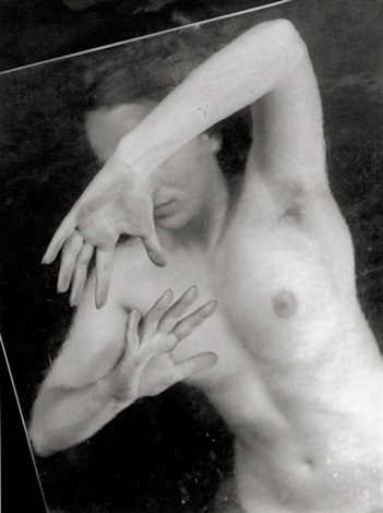female nude with sheet of glass by jaromir funke