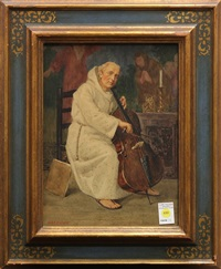 monk playing the cello by george henry alan brown