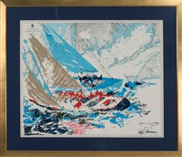 america's cup 19th challenge newport sept. 17 '64 by leroy neiman
