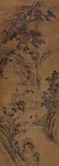 对弈图 立轴 设色绢本 by chen zhuo