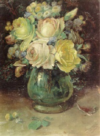 a still life with roses and other flowers in a glass vase by j. voisard
