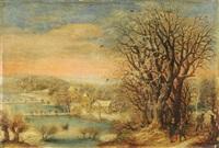 winterlandschaft mit blick auf ein verschneites dorf by denis van alsloot