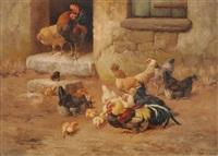 hahn, hühner und küken by william baptiste baird
