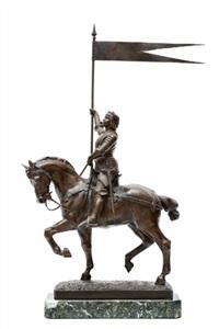 jeanne d'arc gezeten te paard met een vaandel in de rechterhand by jean louis gregoire