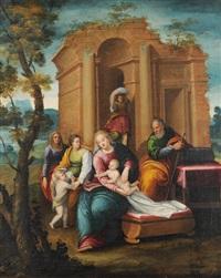 erweiterte heilige familie vor ruinenlandschaft by italian school-ferrara (17)