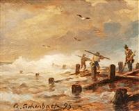 hafenarbeiter bei stürmischer brandung by andreas achenbach