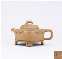 teapot with ganoderma shaped feet and ruyi shaped knob by bao zhongmei and shi xiuchun
