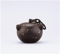 teapot of globular shape by bao zhongmei