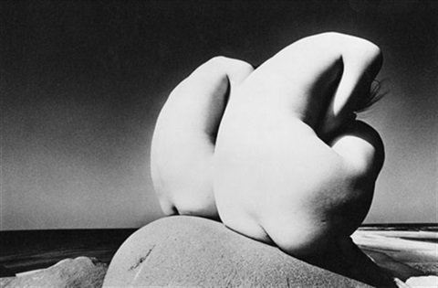 untitled two female nudes on rock by kishin shinoyama