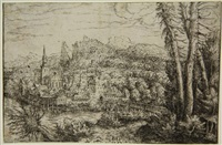 view on a city near a river (from landscapes) by hans sebald lautensack
