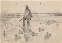 marsh view with three ducks, long point, and wildfowler (3 works) by frank weston benson