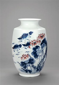 连年有余 青花五彩瓷瓶 (harvest, blue and white polychrome porcelain vase) by liu shengju