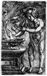 mucius scaevola, seine hand verbrennend by albrecht altdorfer