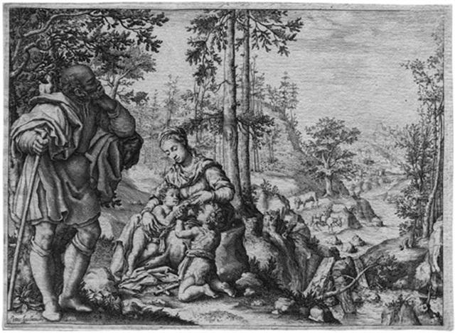 die hl familie mit dem johannesknaben in einer landschaft by pietro anichini