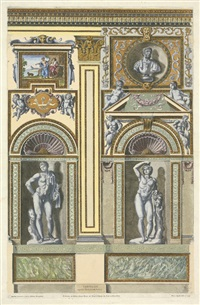 wanddekorationen aus dem palazzo farnese (from galeriae farnesianae icones romae) (4 works) by petrus aquila