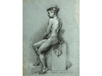 seated nude in profile by james carroll beckwith