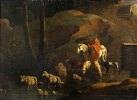 a landscape with a shepherd and his flock by a stream by karel dujardin