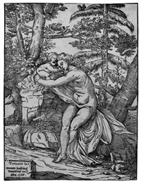 venus und amor in einer landschaft (after tizian) by niccolo boldrini
