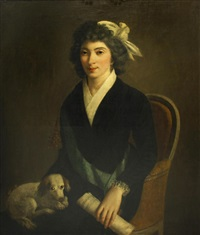 a portrait of a woman, three-quarter length, seated, with a dog in her lap and holding a sheet of music in her left hand by jacques-louis david