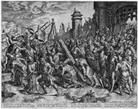 die kreuztragung: christus auf dem weg zum kalvarienberg (engraved by cornelis cort) by hieronymus bosch