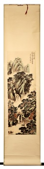 chinese ink and color on paper hanging scroll painting by wu hufan