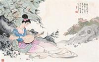 抚琴图 by gu bingxin