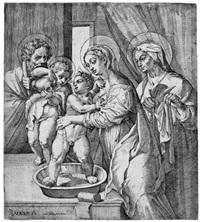 die hl. maria, den jesusknaben waschend by pietro facchetti