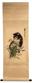 ink and color on paper hanging scroll painting by huang zhou