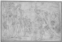 szene aus der antiken geschichte: ein edelmann vor einem römischen feldherrn by giuseppe diamantini