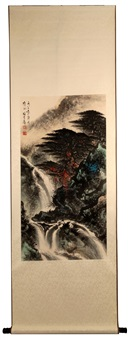 ink and color on paper hanging scroll painting by li xiongcai