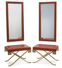 klismos benches (pair) and conforming pier mirrors (set of 4) by garrison rousseau