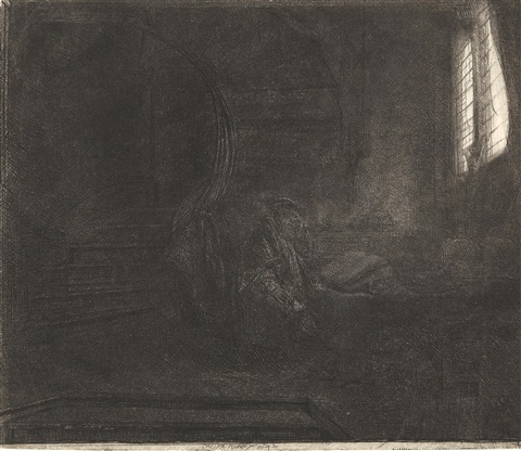 st. jerome in a dark chamber by rembrandt van rijn