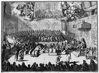 sitzung des englischen ober- und unterhauses mit könig william iii. auf dem thron - het hoog en lager huys van engeland (+ another; 2 works) by romeyn de hooghe