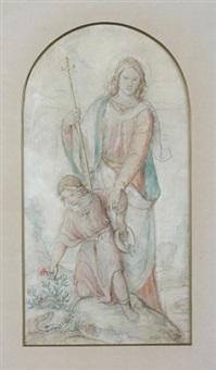 schutzengel mit kreuzstab in der hand bewahrt das kind vor dem pflücken einer blume unter der die schlange lauert (+ pencil sketch, verso) by philipp veit