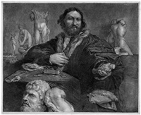 bildnis des kunstsammlers andrea odoni (after lorenzo lotto) by cornelis visscher