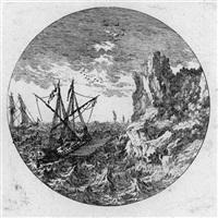 küsten- und hafenansichten im rund (16 works) by gabriel perelle