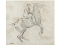 cheval se cabrant (la courbette) by edgar degas