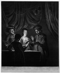 das quartett (the singing masters) (after gottfried schalcken) by richard earlom