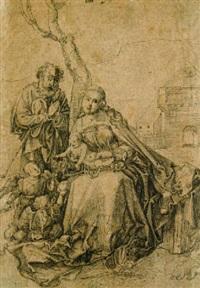 die hl. familie mit engeln unter einem by hans (suess von) kulmbach