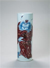 钟馗图 (portrait of zhong kui, a vase) by bai hai