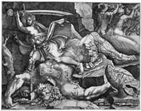 david das haupt von goliath abschlagend (after giulio romano) by giovanni battista ghisi