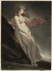 junge, sinnierende frau in einer stürmischen nachtlandschaft by j.f. cazenave